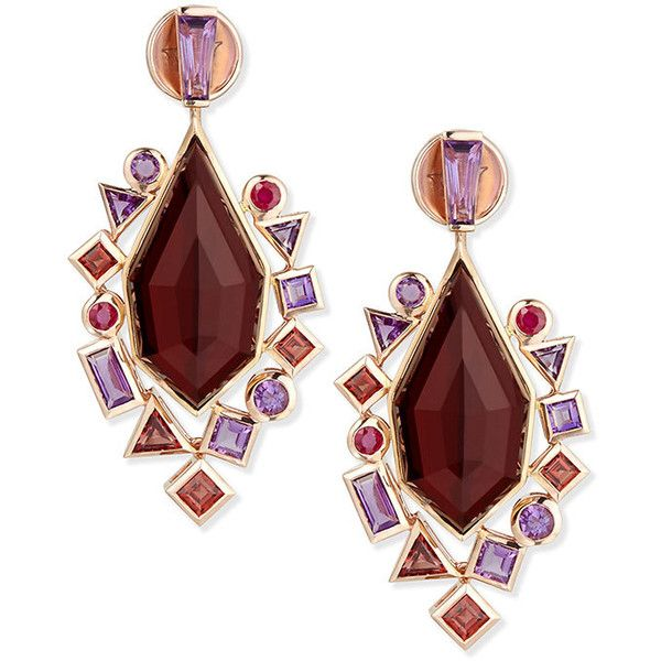Stephen Webster Gold Struck Garnet (11,155 CAD) ❤ liked on Polyvore featuring jewelry, earrings, gold garnet earrings, 18k yellow gold earrings, garnet drop earrings, gold jewelry and post drop earrings