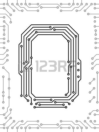 Alphabet of printed circuit boards. Easy to edit. Capital