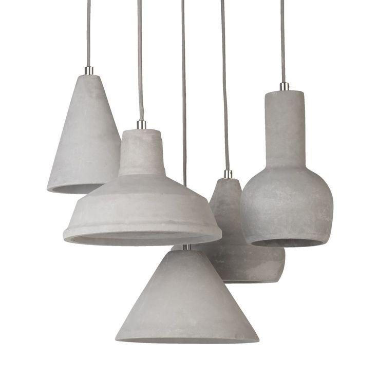Deckenleuchte Beton, 5 Lampenschirme Jetzt bestellen unter: https://moebel.ladendirekt.de/lampen/deckenleuchten/deckenlampen/?uid=4bcc7990-4fcf-5781-ac95-e442fd29d00b&utm_source=pinterest&utm_medium=pin&utm_campaign=boards #deckenleuchten #leuchten #lampen #deckenlampen