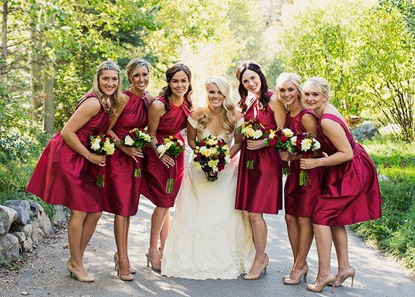Alfred Sung garnet bridesmaids dresses with pockets - Alixann Loosle Photography