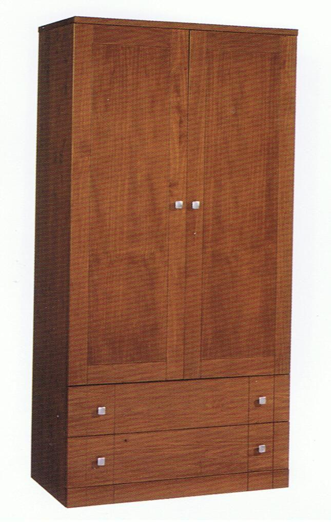 Armario ropero armario de dos puertas y dos cajones for Puertas color pino