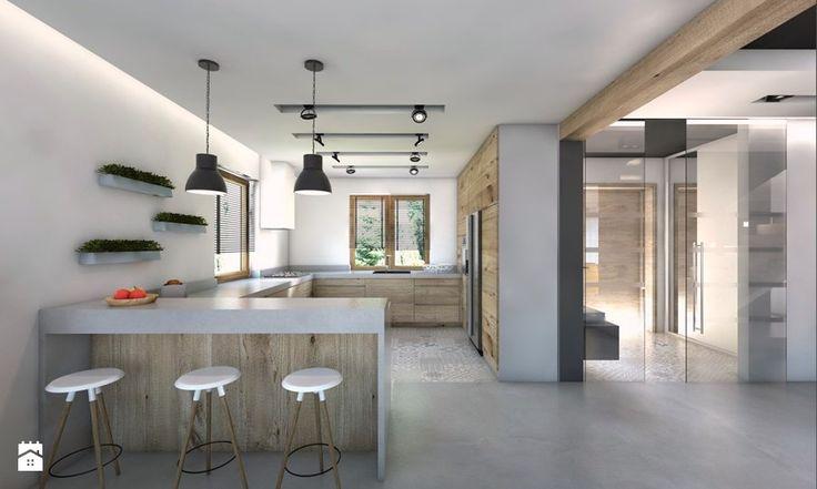(Będzin) Projekt domu jednorodzinnego 4 - Duża otwarta kuchnia w kształcie litery g w aneksie, styl nowoczesny - zdjęcie od BAGUA Pracownia Architektury Wnętrz