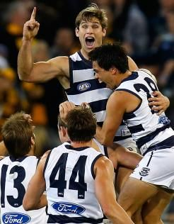 Tom Hawkins celebrates his goal after the siren to beat Hawthorn - Round 19, 3rd August 2012 - Official AFL Website of the Geelong Football Club