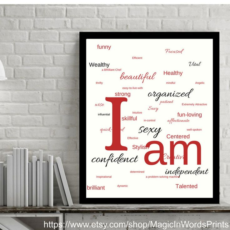 Instant Download, Wall Art, Printable, Affirmation Wall Art, Motivational Printable, Modern, White, Red,Black, Minimalist, I am sexy, strong by MagicInWordsPrints on Etsy