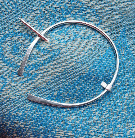 Sterling Silver Shawl Pin Penannular Brooch, Fibula, Scarf Pin, Kilt Pin, Clasp