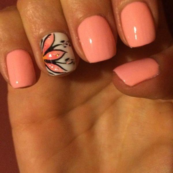 ringfinger schön passend. Pastelltöne Orange mit Blumenmustern Nageldesign