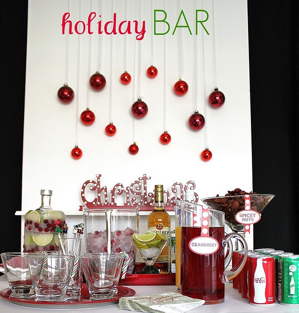 Bar inspirationChristmas Parties, Holiday Parties, S'Mores Bar, Holiday Bar, Holiday Cocktails, Christmas Eve, Christmas Bar, Cocktails Parties, Christmas Drinks