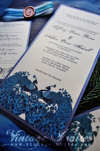 The Tiffany Vintage Peacock Wedding Invitation
