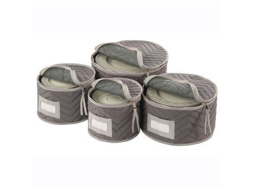 Keep Your Treasured Plates Dust Free And Secure With This Quilted Canvas China  Storage Set, Featuring Plate Dividers And Zipper Closures.