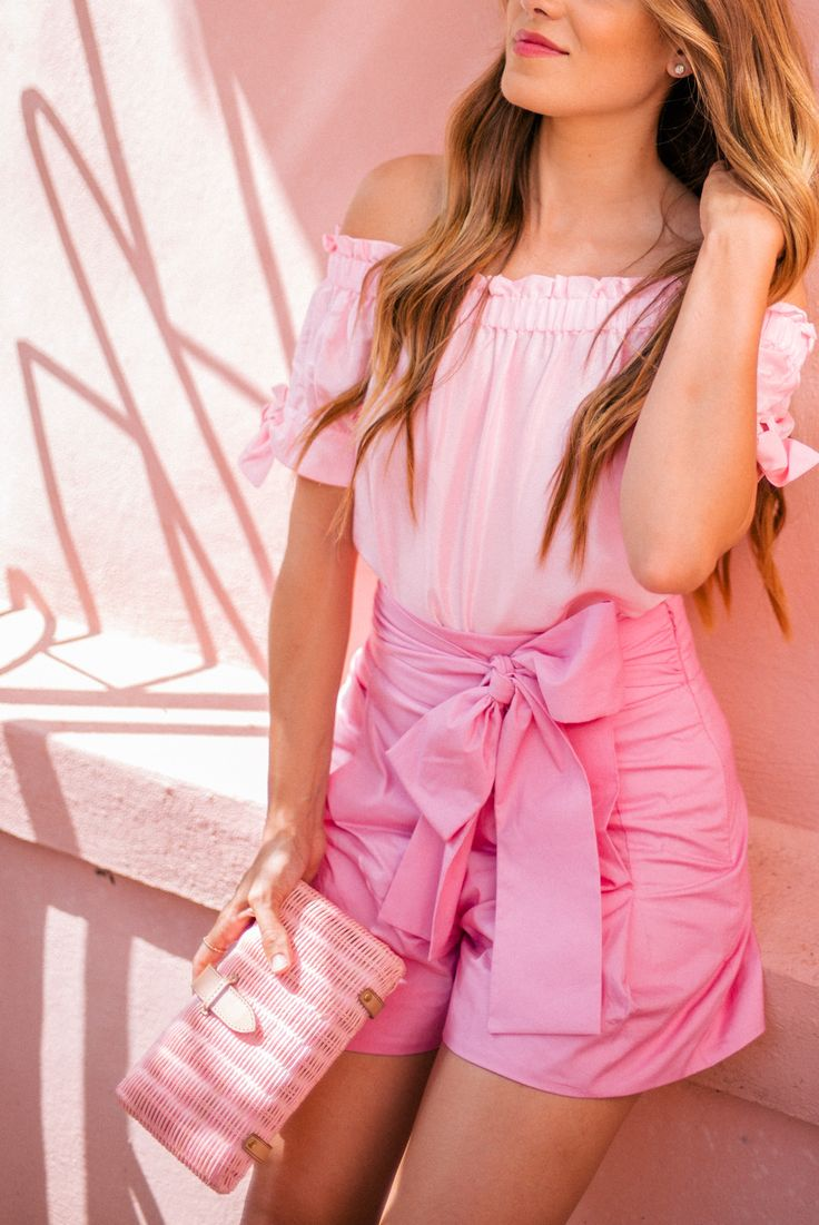 Outfit Details: J.Crew Top, Shorts, Wedges & Clutch  Pink has always been ...