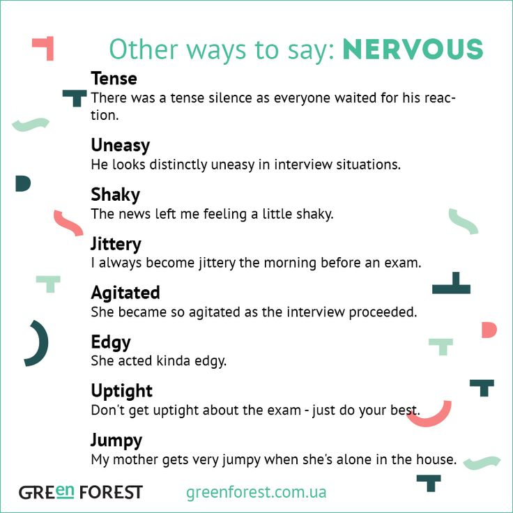 Synonyms to the word NERVOUS. Other ways to say NERVOUS. Синонимы к английскому слову NERVOUS.