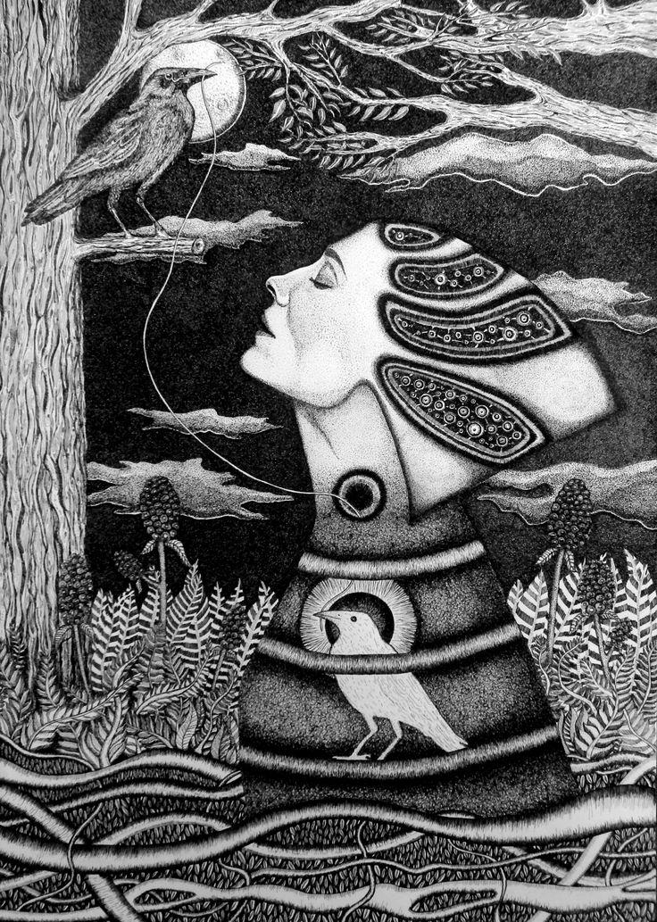 """""""Światłoczułość"""" rysunek, 50x70cm,tusz, sygnowany pseudonimem Touanda"""