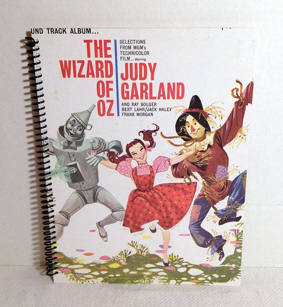 Wizard Of Oz Soundtrack Vintage Album Jacket Journal Record Cover Notebook Handmade #WizardOfOz #RockJournal #albumart #upcycle #handmade #journals #notebooks #coolgifts retroregroove.com