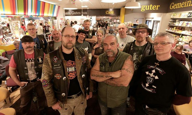BERLIN - Germany: MGP Sam Childers with some of the biker community at - CEOE Books and gifts in Forum Steglitz - for a book signing of Another Mans War  (PRINTED In German) and Living on the Edge (Sams NEW book)