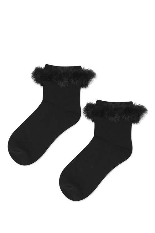 Add a pretty touch to feet in these cute ankle socks. Comes with a fur trimmed turn-over top - perfect worn with ankle boots. #Topshop