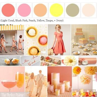 Color Scheme: Light Coral, Blush Pink, Peach, Yellow, Taupe, Ivory