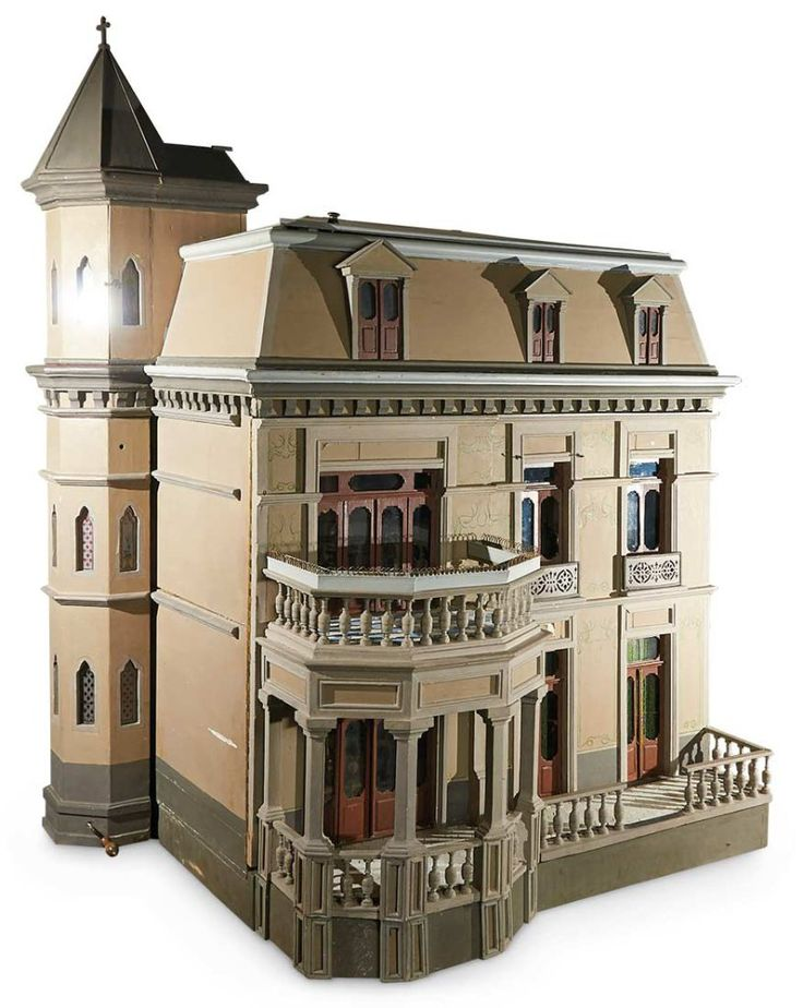 french wooden chateau dollhouse elevator stained glass windows and chapel turret 850011500 - Wooden Dollhouses Designs
