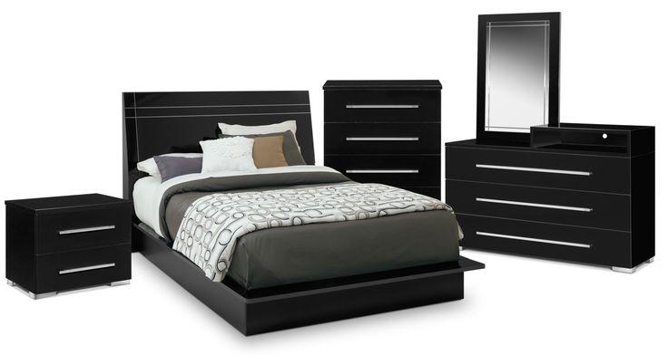 Dimora 7-Piece Queen Panel Bedroom Set With Media Dresser - Black