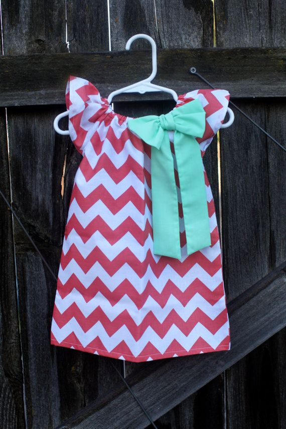Coral Chevron Mint Bow Peasant Dress  Baby by MooseBabyCreations, $27.50: Dresses Baby, Baby Girl Dresses, Cute Baby Girl, Chevron Dress, Baby Girls Dresses