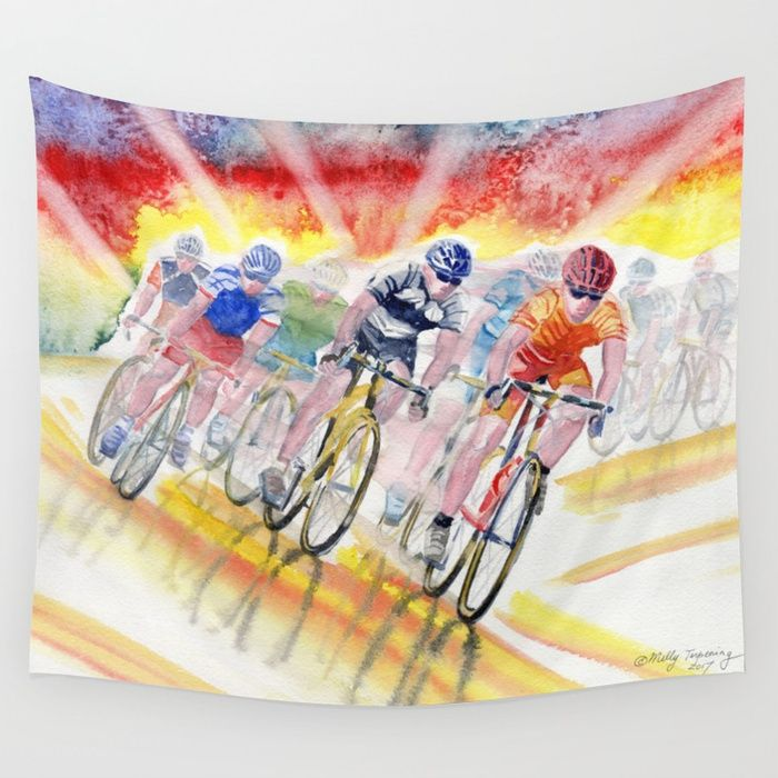 Adrenaline Rush by Melly Terpening #bikerace  Available in three distinct sizes, our Wall Tapestries are made of 100% lightweight polyester with hand-sewn finished edges. Featuring vivid colors and crisp lines, these highly unique and versatile tapestries are durable enough for both indoor and outdoor use. Machine washable for outdoor enthusiasts, with cold water on gentle cycle using mild detergent - tumble dry with low heat.