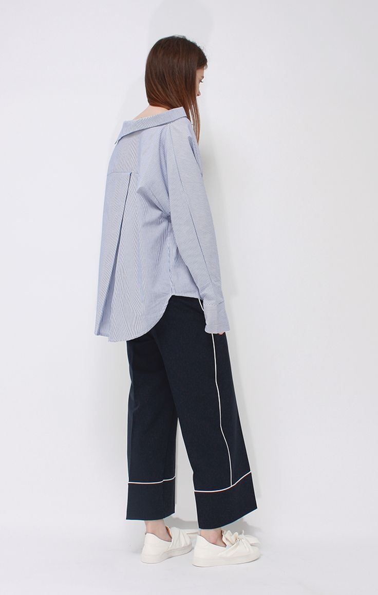 soft lounge dressing with oversized shirt and cropped wide leg piped pants. Saved by Gabby Fincham