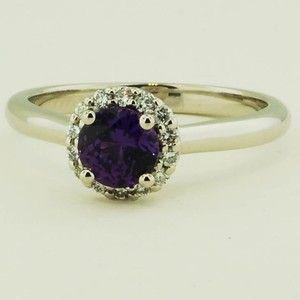 Platinum Sapphire Halo Diamond Ring – Set with a 5.3mm Round Purple Sri Lanka Sa…