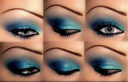 .: Makeup Inspiration, Stylish Eve, Summer Makeup, Guarda-Chuva Azul, Blue Eye Makeup, Makeup Ideas, Eyemakeup, Blue Eyeshadows, Deep Blue