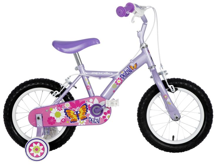The Apollo Petal Girls Bike has a cute flower and butterfly design with detachable stabilisers.