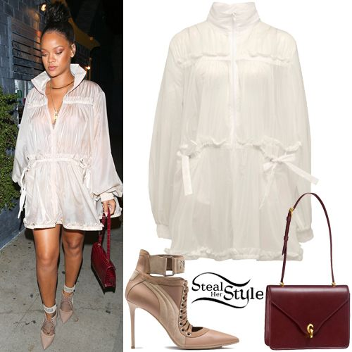 Rihanna: White Jacket Dress, Lace-Up Heels | Steal Her Style