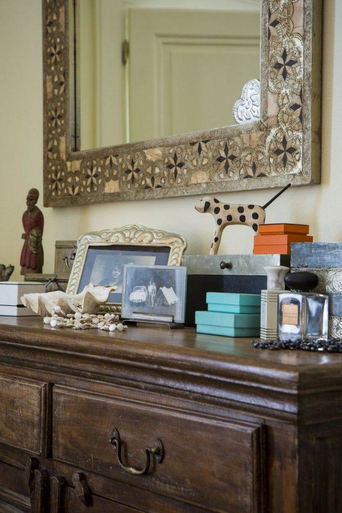 Antique oriental mirror and wooden chest of drawers. #oriental #antique #women #design