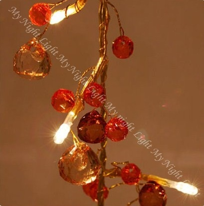 Amber Chic string light - An elegant collection of amber crystal look beads.
