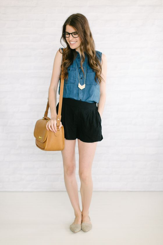 sleeveless chambray   soft shorts   flats  via Un-Fancy