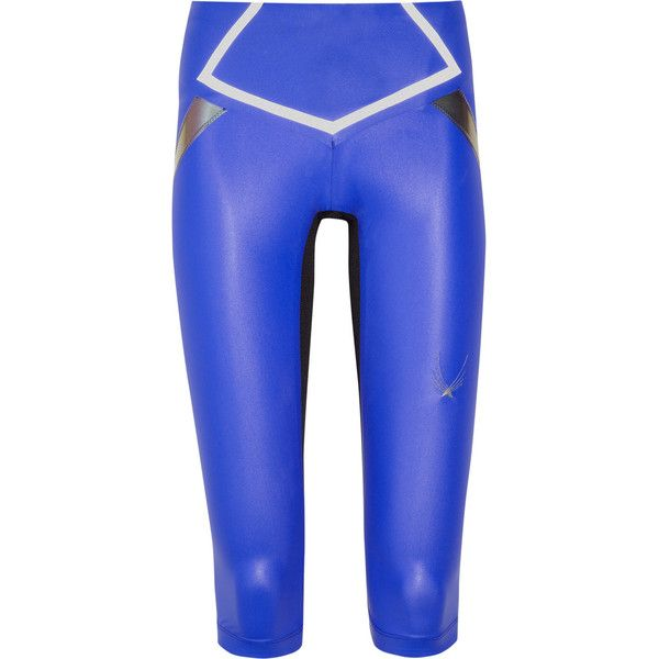 Lucas Hugh Flash lightweight stretch Capri leggings ($125) ❤ liked on Polyvore featuring pants, leggings, blue, legging pants, capri leggings, stretch pants, royal blue leggings and stretchy pants