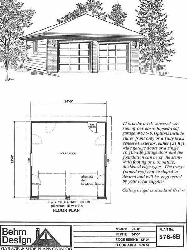 Hipped roof two car garage with front brick veneer plan for Standard garage roof pitch