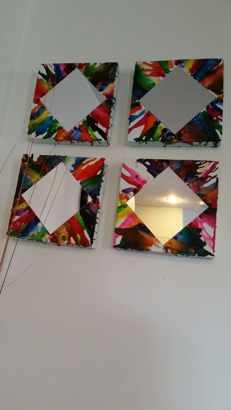 Melted Crayon on canvas/ mirror