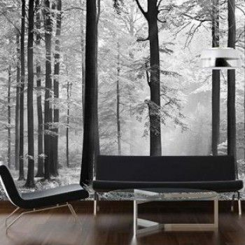 Stijlvol fotobehang van een bos uitgevoerd in #zwart-wit