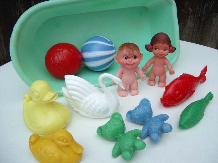 Vintage Puppen - Badewanne, Puppe, Bade-Spielzeug, 70er Jahre - ein Designerstück von Speicherfunde bei DaWanda