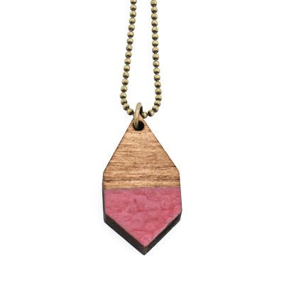 DIAMANTE small necklace in hammered rosewood