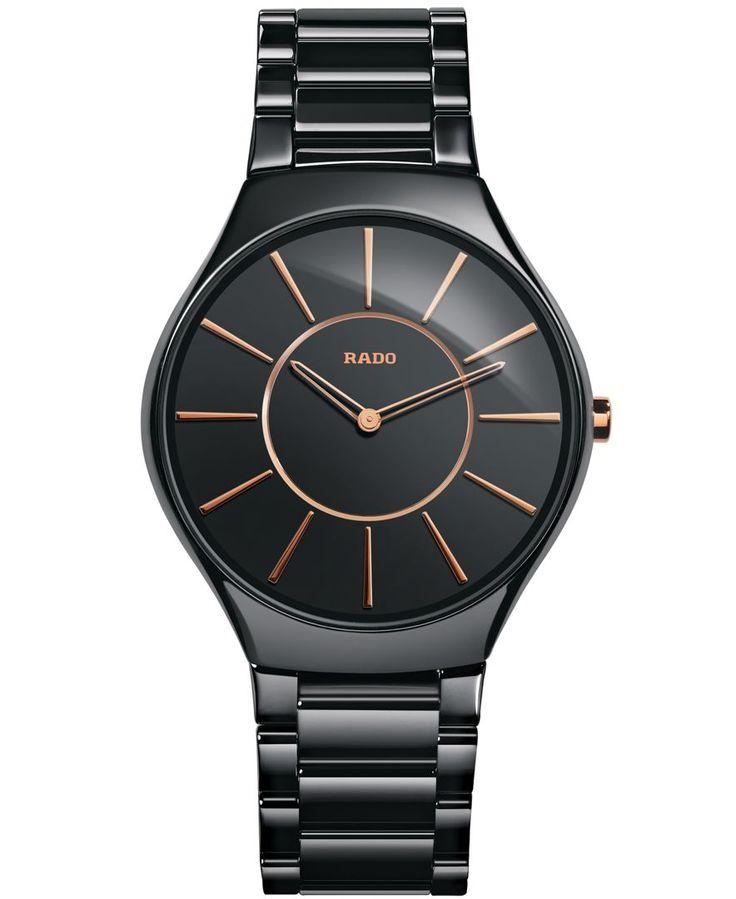 Rado Women's Swiss True Thinline Black High-Tech Ceramic Bracelet Watch 39mm R27741152