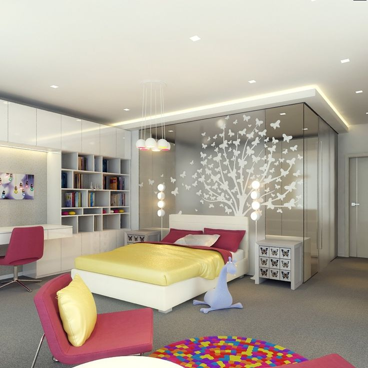 Interior, Colorful Bedroom Design With Butterfly Tree Sculpture: Designing  Kids Sports Room For Your Active Children