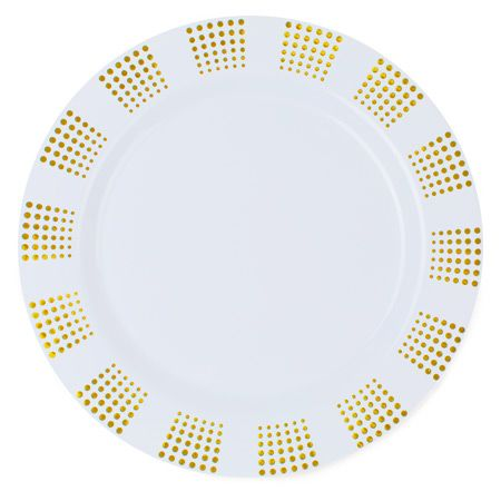 empress white gold plastic dinner plates by