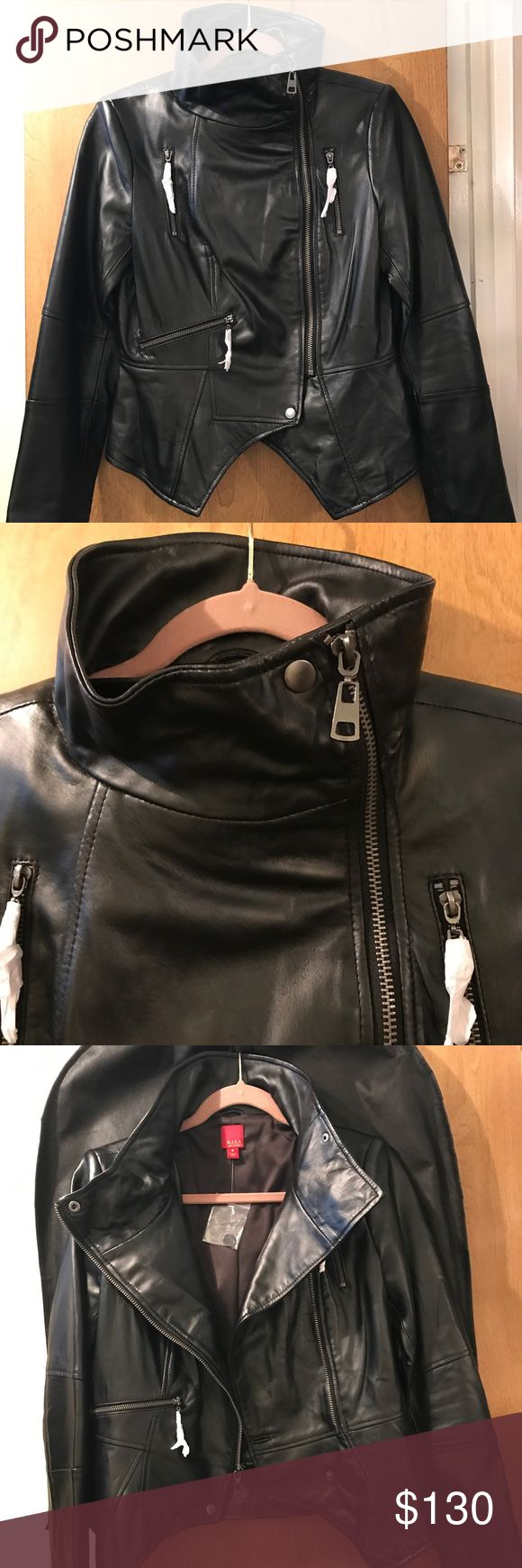 """G.I.L.I. Leather Motorcycle Jacket NEW Brand New G.I.L.I. Leather Motorcycle Jacket in Black nickeltone hardware Sz 6. From Qvc-item number A256717. Super chic, on trend yet classic. Some info QVC: Slim fit; cut to contour lines of the body. The seam at the waist flatters & defines your shape,designed to be worn comfortably over a tank/shell.If you prefer to wear with a sweater size up. Length: 23-1/8"""" to 24-3/8"""" Content: 100% leather;lining 96% polyester/4% spandex. Comes with Dust bag and…"""