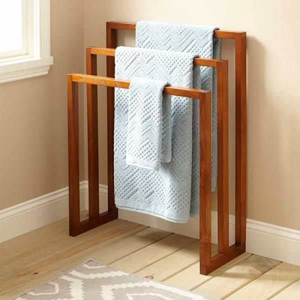 """28"""" Layla Teak Towel Hanger with 3 Levels - Signature Hardware"""