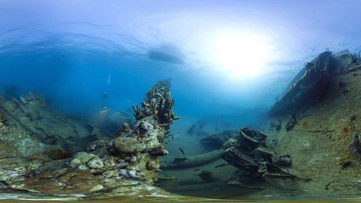 Nadar a través de los océanos en su escritorio con 360 grados Seaview de Google | Estructuras bajo el agua, ya sea natural o artificial, ofrecen un lugar para que los corales crezcan. Se trata de los restos del naufragio de la Antilla, que fue hundido en 1940 cerca de Aruba. Ahora ofrece un hábitat para muchos peces y un punto de anclaje para los corales blandos que llaman a la casa del Caribe. Catlin Seaview Encuesta  | WIRED.com