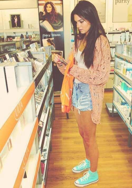 Peach Knit Cardigan. Mint Converse. Teen Fashion. By-Iheartfashion14♥ →follow←