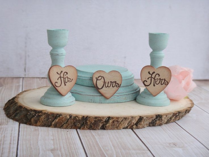 his hers ours wooden candle holders   His, Hers, Ours Rustic and Shabby Unity Candle Set by PNZ Designs. $32 ...