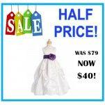 White Full Length Ball Flower Girl Dress: CLEARANCE