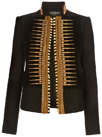 Black cotton-mix jacket from Balmain featuring a stand-up collar with gold and red trims and an open front with gold-tone military-style detaining.