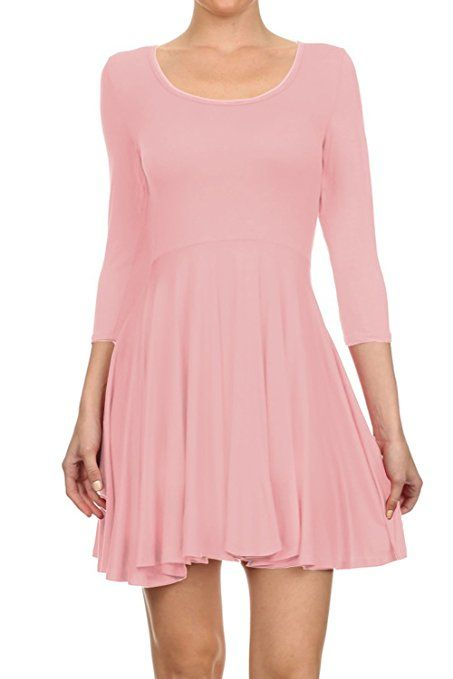 5e6059c40df TOPPING Women's Casual Jersey Long Sleeve Flare Mini Skater Dress at Amazon  Women's Clothing store: