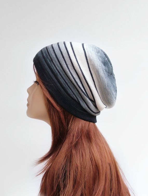 Cotton beanie hat in ombre grey and off-white by rukkola on Etsy. #slouchybeanie #cottonbeanie #knittedhat